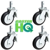 "6"" x 2"" Scaffolding Caster Set with Total Lock Brake - Mold-on-Rubber Cast Iron Wheel"