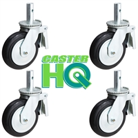 "8"" x 2"" Scaffolding Caster Set with Total Lock Brake - Mold-on-Rubber Cast Iron Wheel"