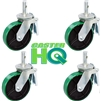 "8"" x 2"" Scaffolding Caster Set with Total Lock Brake - Green Poly on Steel Wheel"