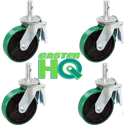 "6"" x 2"" Scaffolding Caster Set with Total Lock Brake - Green Poly on Steel Wheel"