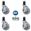 4 inch Gray TPR Caster Wheel Set for Stainless Steel Commercial Kitchen Prep Tables