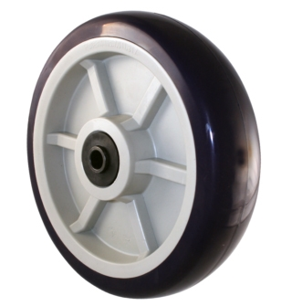 8″ X 2″ Blue on Tan A98 TPU Crown Tread Medium/Heavy Duty Wheel with 1/2 QuadX Dual Precision Bearing.
