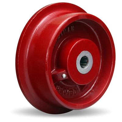 "Hamilton Cast Iron Single Flanged Track Wheel 8"" Diameter x 2-1/4"" Face x 3-1/4"" Hub length with 3/4"" Precision Tapered Roller Bearing"