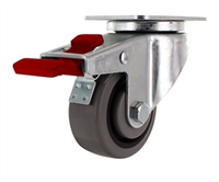 "3"" X 1.25"" - TPR A70 Crown Tread Gray on Black Wheel - Total Locking Swivel Caster - 180lbs Cap"