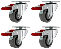 "3"" X 1.25"" - TPR A70 Crown Tread Gray on Black Wheel - Total Locking Swivel Caster Set of 4 - 720 lbs Cap"