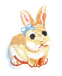 Bunny with Bow Embroidered Applique