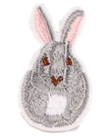 Grey & Pink Bunny Embroidered Applique