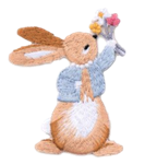Flower Bunny Embroidered Applique