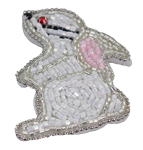 White Beaded Bunny Embroidery Patch