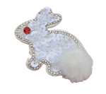 White Sequin Bunny Embroidery Patch