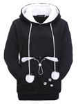All Things Bunnies Black Hoodie with Small Animal Carry Pouch