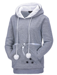 All Things Bunnies Gray Hoodie with Small Animal Carry Pouch