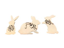 Laser Cut Wood Bunny Magnets