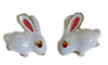 White Rabbit Inlaid with Crystal Eyes Earrings