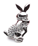 Silver and White Crystal Jumping Bunny Pin/Brooch