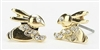 Gold and Rhinestone Bunny Stud Earrings