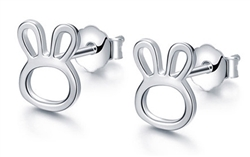 .925 Sterling Silver Bunny Stud Earrings