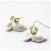 White Bunny with Swarovski Dangle Earrings