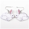 White Acrylic Bunny Dangle Earrings