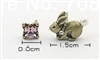 Asymmetrical Brass Bunny and Amethyst Stud Earrings