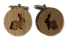Wood Rabbit Cufflinks