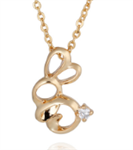Gold and Crystal Bunny Necklace
