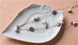 Flowers and Bunnies Necklace