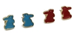 Gold Tone Blue or Red Bunny Stud Earrings