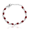 Rabbit Ears .925 Silver Ruby Crystal and CZ Bracelet