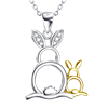 Mother and Baby Bunny .925 Sterling Silver Necklace