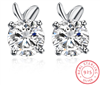 .925 Sterling Silver and CZ Bunny Stud Earrings