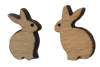 Wood Bunny Stud Earrings