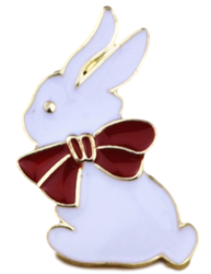 White Bunny with Red Bow Pin