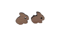 Small Wood Bunny Stud Earrings