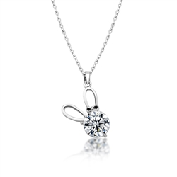 Ears and Bows CZ Bunny Necklace