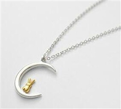 .925 Sterling Silver Moon and Gold Bunny Necklace