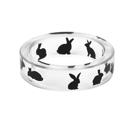 Men's Handmade Ink Painted Resin Rabbit Ring