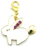 Gold and Pink Enamel Bunny Charm