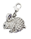 Large White Crystal Bunny Charm