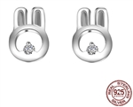 .925 Sterling Silver and CZ Rabbit Stud Earrings
