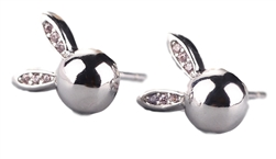 .925 Sterling Silver Round Ball Bunny Stud Earrings