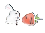 .925 Sterling Silver Rabbit & Carrot Stud Earrings