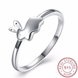 .925 Sterling Silver Bunny Ring