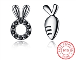 .925 Sterling Silver and Black Crystal Bunny and Carrot Earrings