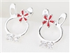 .925 Sterling Silver Bowtie Bunny Earrings