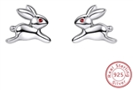 .925 Sterling Silver Hopping Rabbits