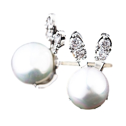 Crystal and Pearl Bunny Earrings