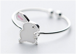 .925 Sterling Silver White Bunny Adjustable Ring