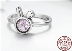 .925 Sterling Silver Rabbit Ring with Sparking Pink CZ Stone