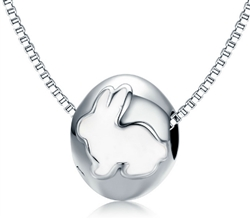 .925 Sterling Silver Rabbit Bead Necklace